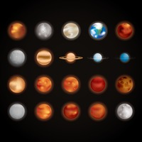 Collection of planets and stars