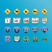 Collection of roadsigns