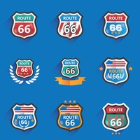 Collection of route 66 road signs
