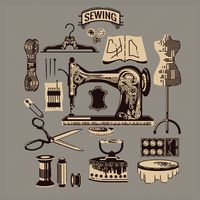 Collection of sewing icons