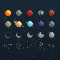 Collection of space icons