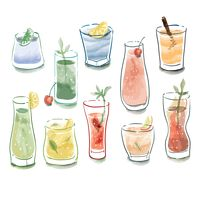 Collection of various types of drinks
