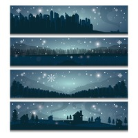 Collection of winter landscape banners