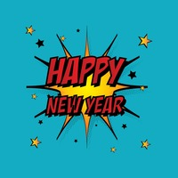 Comic style happy new year
