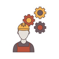 Construction worker and gears