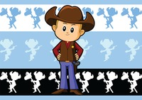 Cowboy over a pattern background
