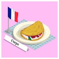 Crepe with france flag