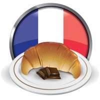Croissant and chocolates in a plate