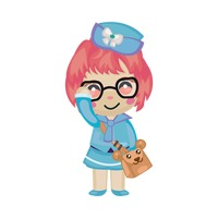 Cute air stewardess wearing glasses with a cute sling bag