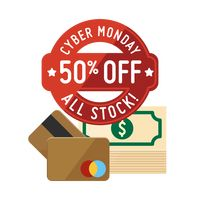 Cyber monday sale design and dollar notes with cash cards