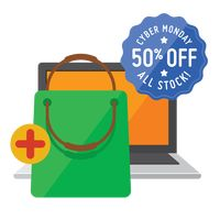 Cyber monday sale design and laptop with shopping bag