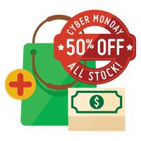 Cyber monday sale design and shopping bag with dollar notes