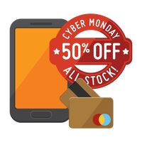 Cyber monday sale design and smartphone with cash cards
