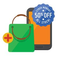 Cyber monday sale design and smartphone with shopping bag