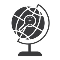 Desk globe with magnifier icon
