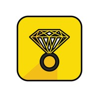 Diamond ring on yellow background