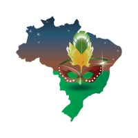Double exposure of brazil map with carnival mask
