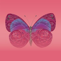 Double exposure of butterfly and flowers