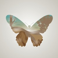 Double exposure of butterfly and landscape