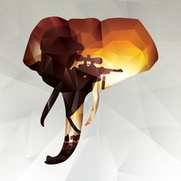 Double exposure of elephant and hunter