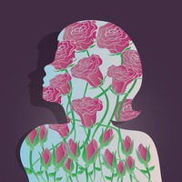 Double exposure of flower and woman