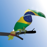 Double exposure of toco toucan with brazil flag