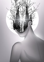 Double exposure of woman and forest