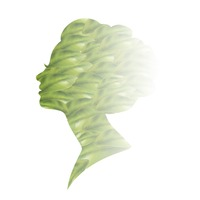 Double exposure of woman and leaves