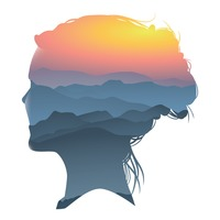 Double exposure of woman and scenery