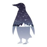 Double exposure penguin and winter landscape