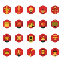 Electrical transmission and generation sources icon set
