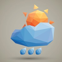 Faceted sun cloud and rain