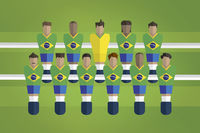 Foosball figurines represent brazil football team