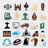 Funeral icons collection