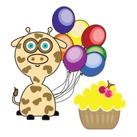 Giraffe with colorful balloons and cupcake