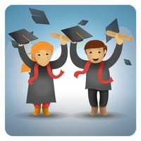 Girl and boy holding graduation certificate and hat