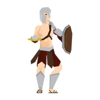 Gladiator soldier with sword and shield