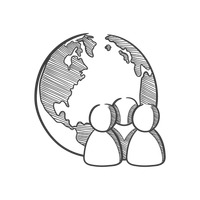 Globe and group icon
