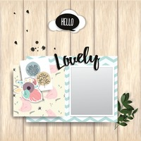 Greeting card with photo frame on wooden plank