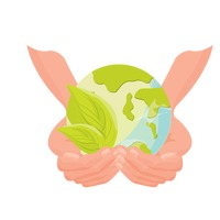 Hands holding earth with a leaf