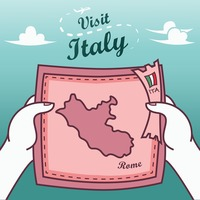 Hands holding rome paper map