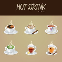 Hot drink icon set