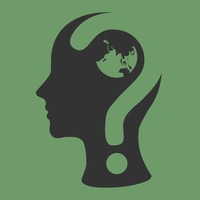 Human head with question mark and globe