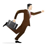 Hurrying businessman with briefcase in hand