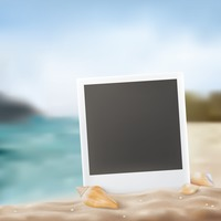Instant photo on beach