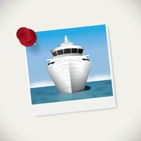 Instant photograph of cruise ship