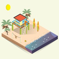 Isometric beach house