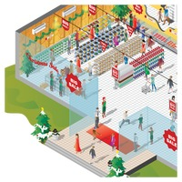 Isometric of a shopping mall