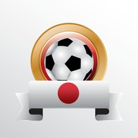 Japan flag with soccer ball