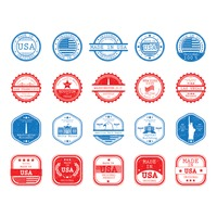 Landmarks and made in usa labels collection